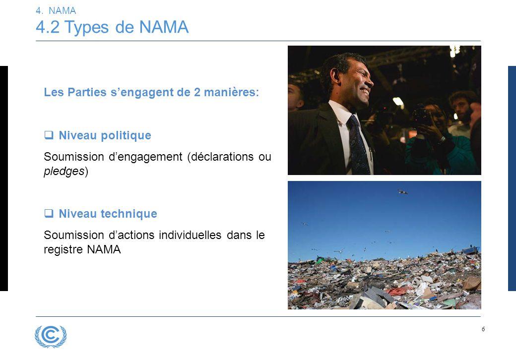 6 4. NAMA 4.2 Types de NAMA Les Parties s'engagent de 2 manières:  Niveau politique Soumission d'engagement (déclarations ou pledges)  Niveau techni
