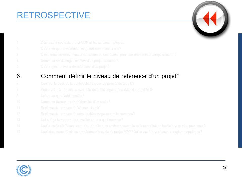 19 RETROSPECTIVE 5.Qu'est que le niveau de reference d'un projet.