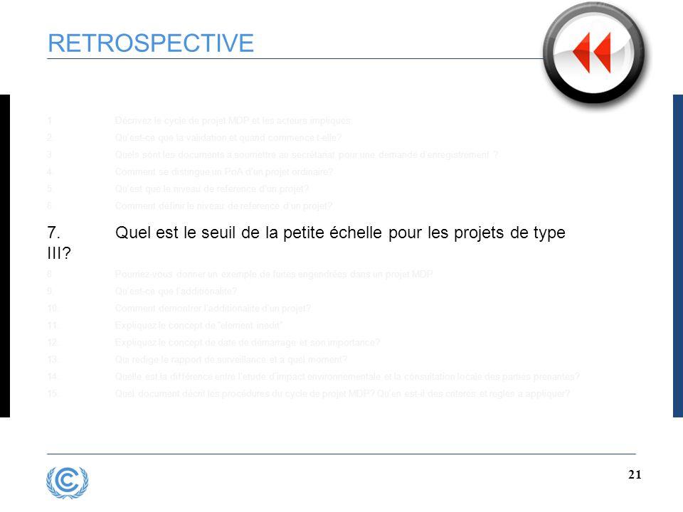 20 RETROSPECTIVE 1.Décrivez le cycle de projet MDP et les acteurs impliques 2.Qu'est-ce que la validation et quand commence t-elle.