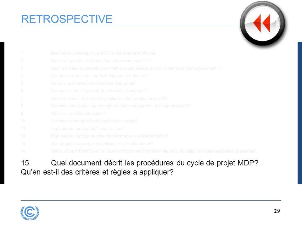 28 RETROSPECTIVE 1.Décrivez le cycle de projet MDP et les acteurs impliques 2.Qu'est-ce que la validation et quand commence t-elle.