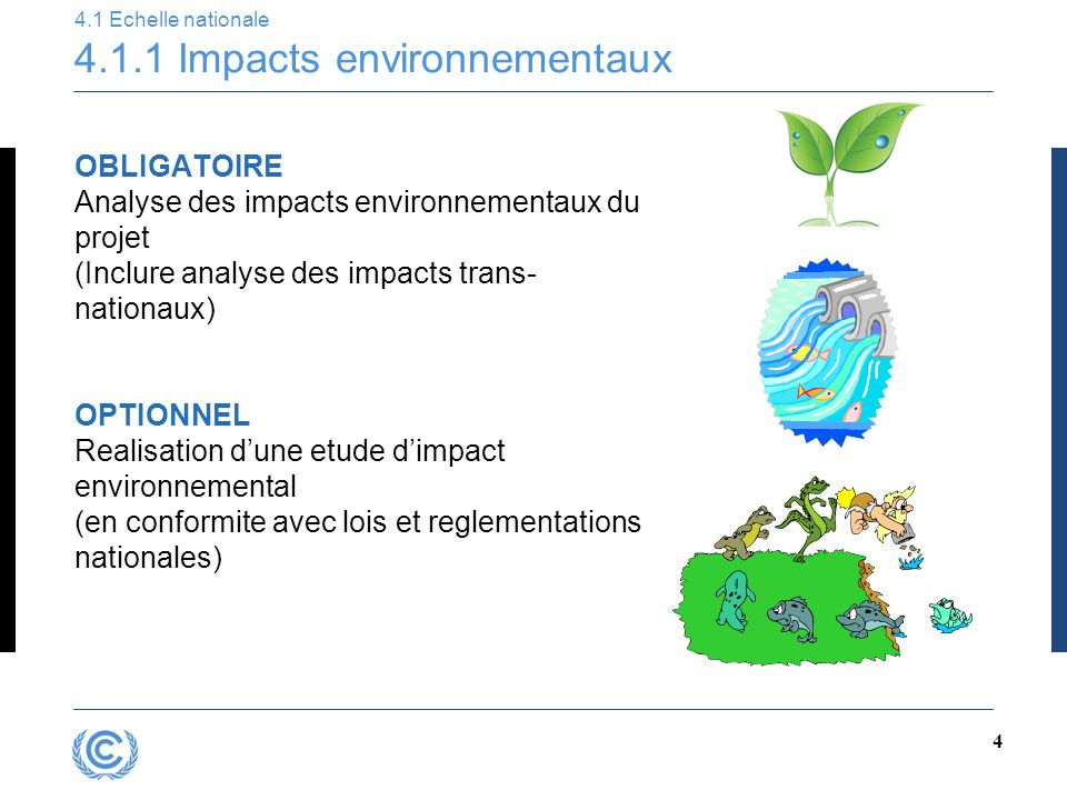 3 4.1 Echelle nationale 4.1.1 Impacts environnementaux 4.1.2 Consultation nationale 4.2 Echelle internationale 4.2.1 Consultation mondiale 4.2.2 Outil de developpement durable Chapitre 4 – Developpement Durable