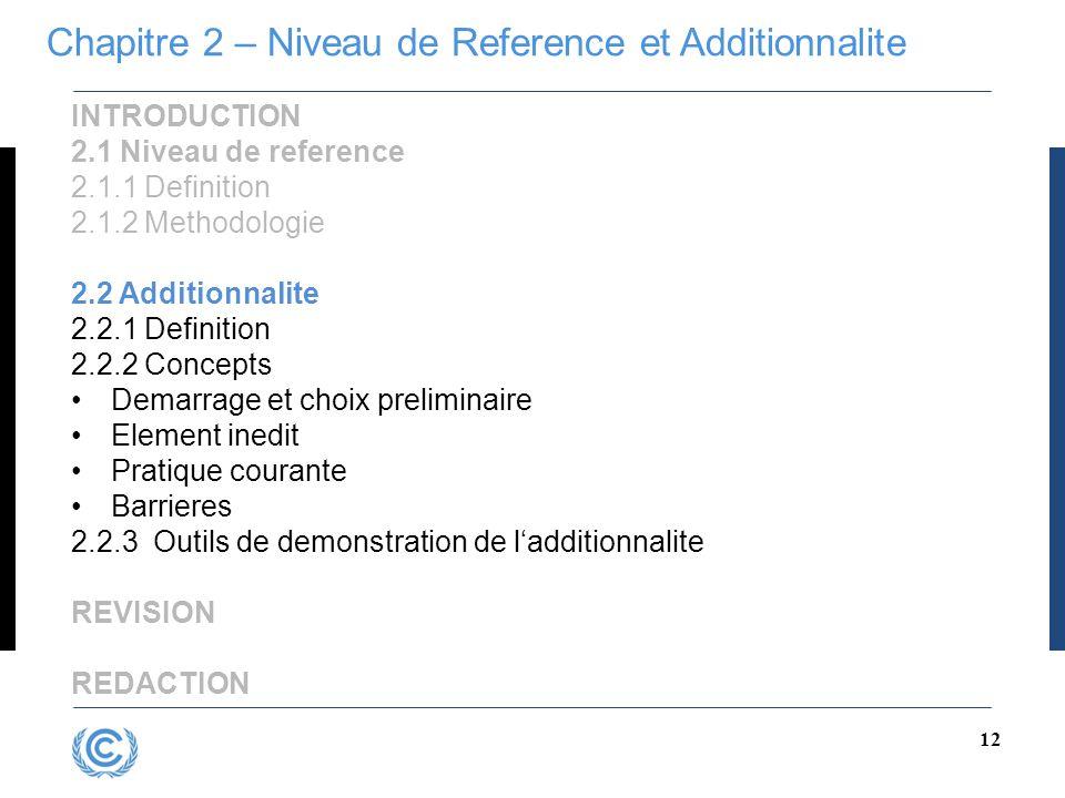 12 INTRODUCTION 2.1 Niveau de reference 2.1.1 Definition 2.1.2 Methodologie 2.2 Additionnalite 2.2.1 Definition 2.2.2 Concepts Demarrage et choix prel