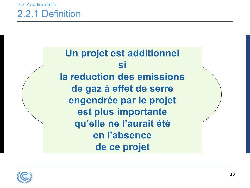 13 2.2 Additionnalite 2.2.1 Definition Un projet est additionnel si la reduction des emissions de gaz à effet de serre engendrée par le projet est plu