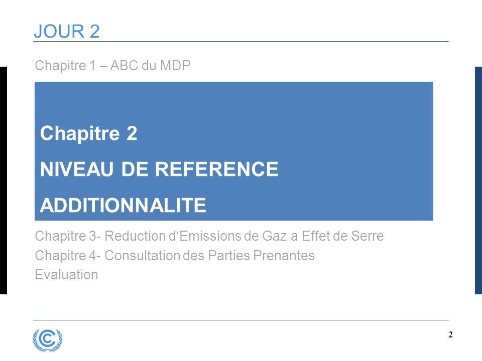 2 JOUR 2 Chapitre 2 NIVEAU DE REFERENCE ADDITIONNALITE Chapitre 3- Reduction d'Emissions de Gaz a Effet de Serre Chapitre 4- Consultation des Parties