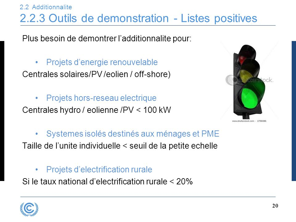 2.2 Additionnalite 2.2.3 Outils de demonstration - Listes positives 20 Plus besoin de demontrer l'additionnalite pour: Projets d'energie renouvelable