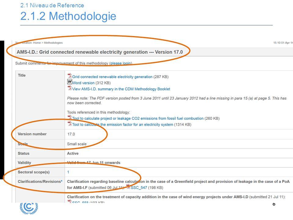 6 2.1 Niveau de Reference 2.1.2 Methodologie