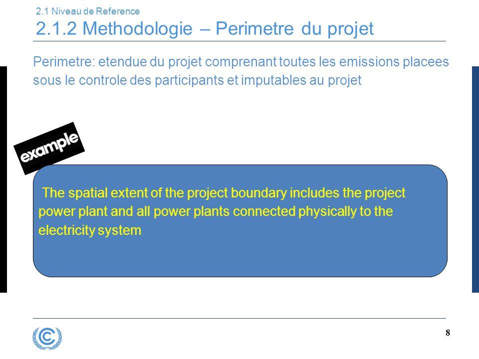 8 2.1 Niveau de Reference 2.1.2 Methodologie – Perimetre du projet Perimetre: etendue du projet comprenant toutes les emissions placees sous le contro