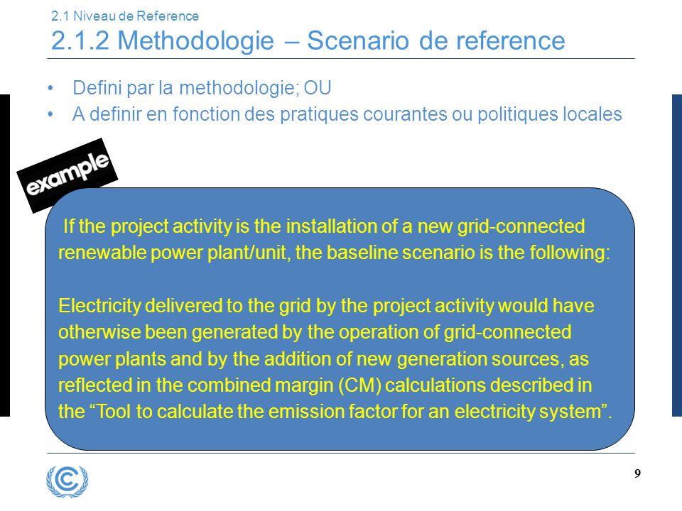 9 2.1 Niveau de Reference 2.1.2 Methodologie – Scenario de reference Defini par la methodologie; OU A definir en fonction des pratiques courantes ou p