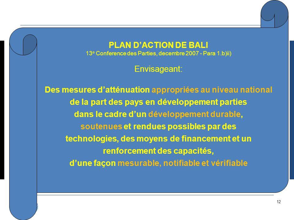 12 PLAN D'ACTION DE BALI 13 e Conference des Parties, decembre 2007 - Para 1.b)ii) Envisageant: Des mesures d'atténuation appropriées au niveau nation