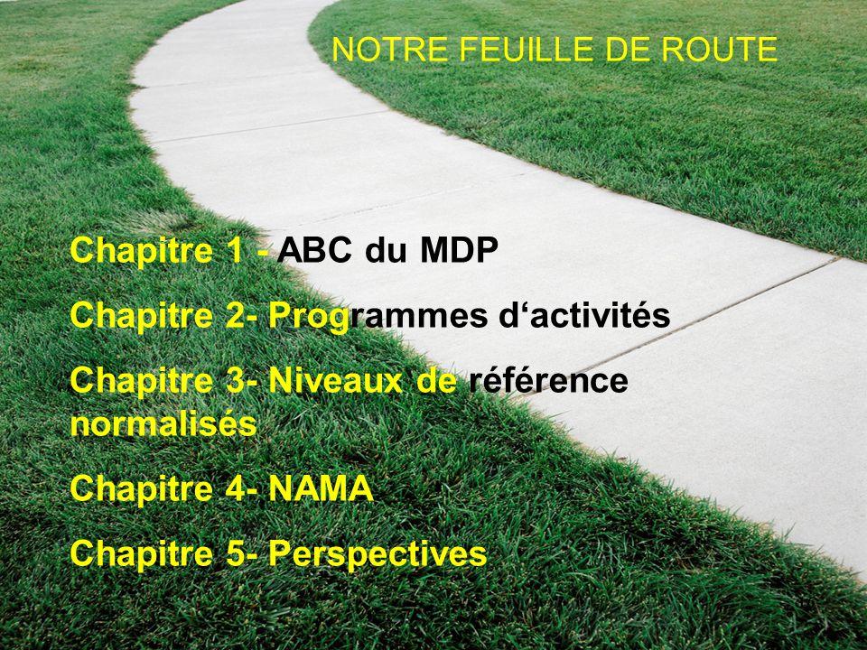 16 NOTRE FEUILLE DE ROUTE Chapitre 1 - ABC du MDP Chapitre 2- Programmes d'activités Chapitre 3- Niveaux de référence normalisés Chapitre 4- NAMA Chap