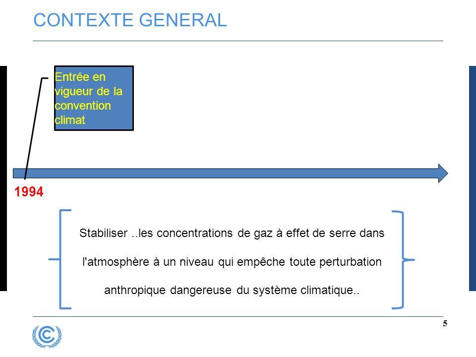 CONTEXTE GENERAL 5 Entrée en vigueur de la convention climat 1994 Stabiliser..les concentrations de gaz à effet de serre dans l'atmosphère à un niveau
