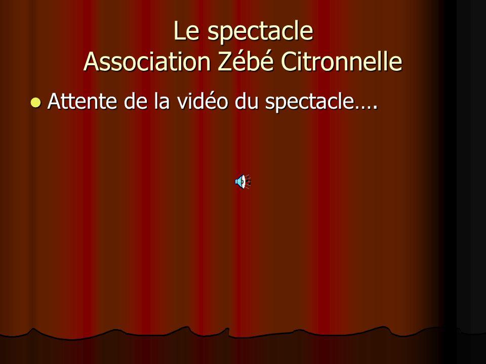 Le spectacle Association Zébé Citronnelle Attente de la vidéo du spectacle…. Attente de la vidéo du spectacle….