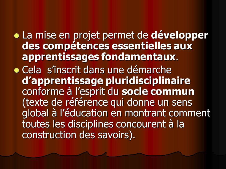 La mise en projet permet de développer des compétences essentielles aux apprentissages fondamentaux. La mise en projet permet de développer des compét