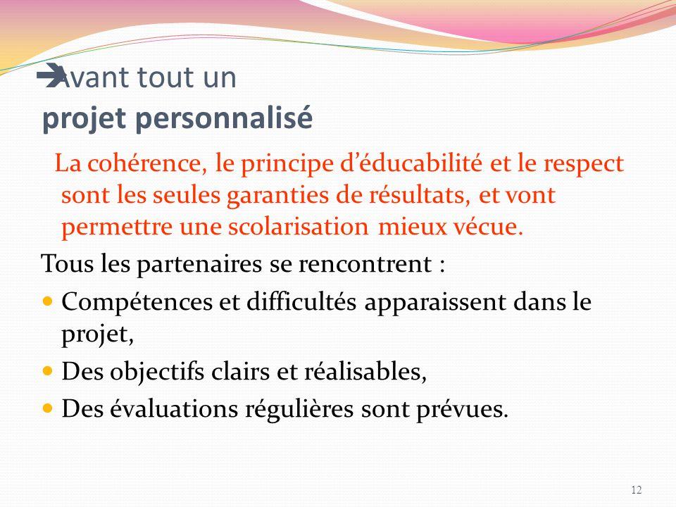  Avant tout un projet personnalisé La cohérence, le principe d'éducabilité et le respect sont les seules garanties de résultats, et vont permettre un
