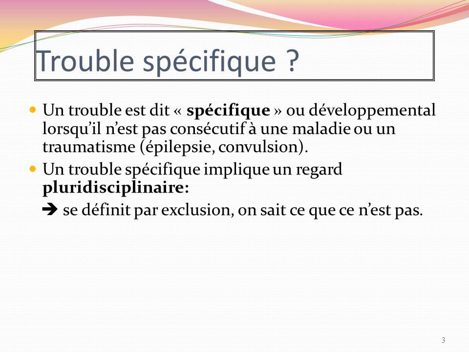 Trouble spécifique ? Un trouble est dit « spécifique » ou développemental lorsqu'il n'est pas consécutif à une maladie ou un traumatisme (épilepsie, c