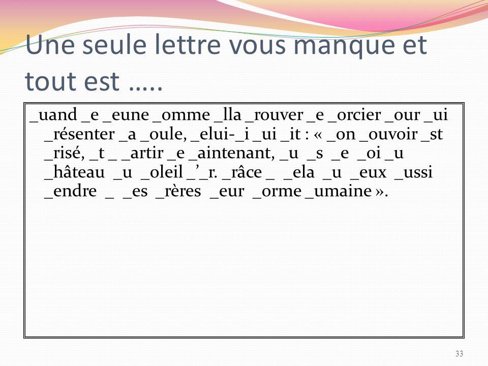 Une seule lettre vous manque et tout est ….. _uand _e _eune _omme _lla _rouver _e _orcier _our _ui _résenter _a _oule, _elui-_i _ui _it : « _on _ouvoi