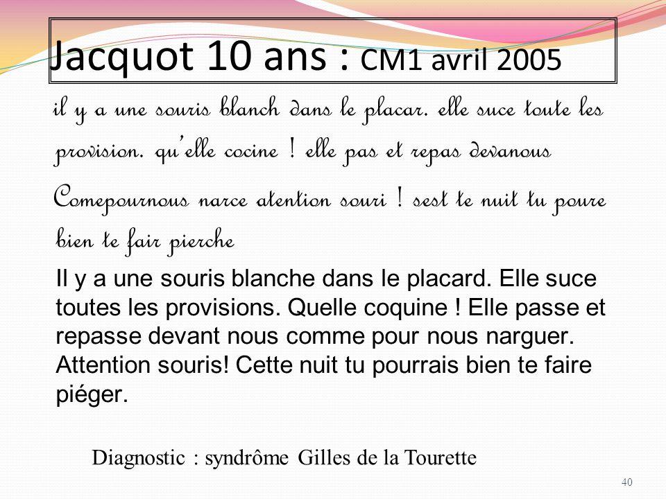 Jacquot 10 ans : CM1 avril 2005 il y a une souris blanch dans le placar. elle suce toute les provision. qu'elle cocine ! elle pas et repas devanous Co