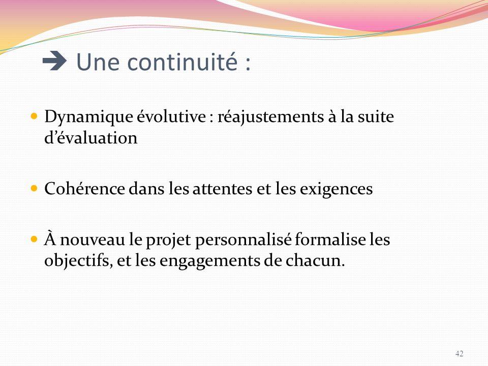  Une continuité : Dynamique évolutive : réajustements à la suite d'évaluation Cohérence dans les attentes et les exigences À nouveau le projet person