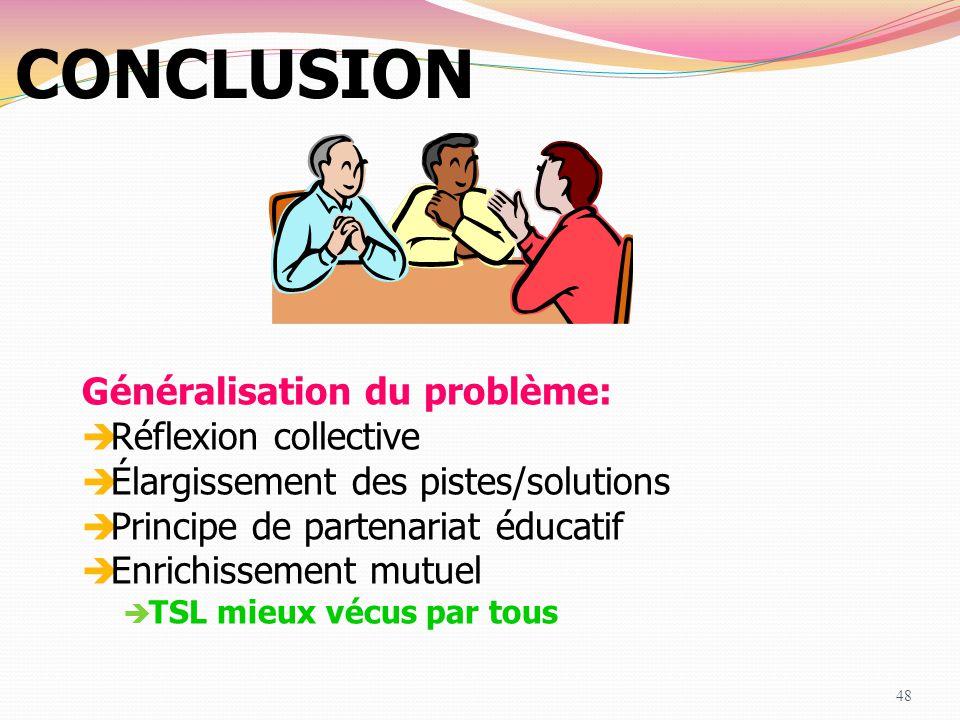 CONCLUSION Généralisation du problème: RRéflexion collective ÉÉlargissement des pistes/solutions PPrincipe de partenariat éducatif EEnrichisse