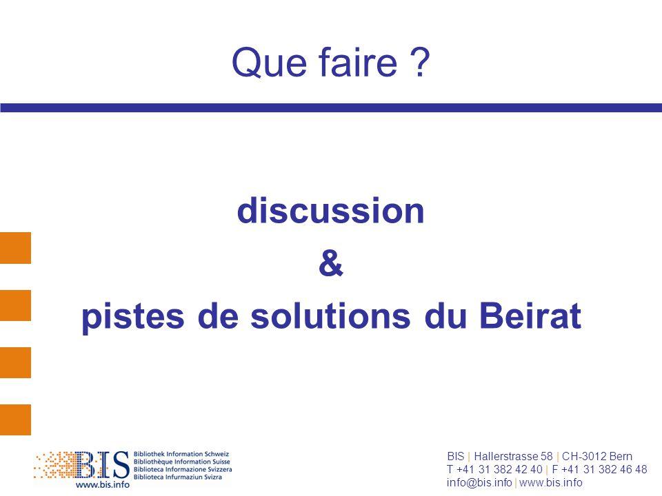 BIS | Hallerstrasse 58 | CH-3012 Bern T +41 31 382 42 40 | F +41 31 382 46 48 info@bis.info | www.bis.info Que faire .