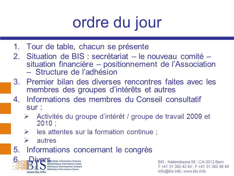 BIS   Hallerstrasse 58   CH-3012 Bern T +41 31 382 42 40   F +41 31 382 46 48 info@bis.info   www.bis.info Point 1 : tour de table