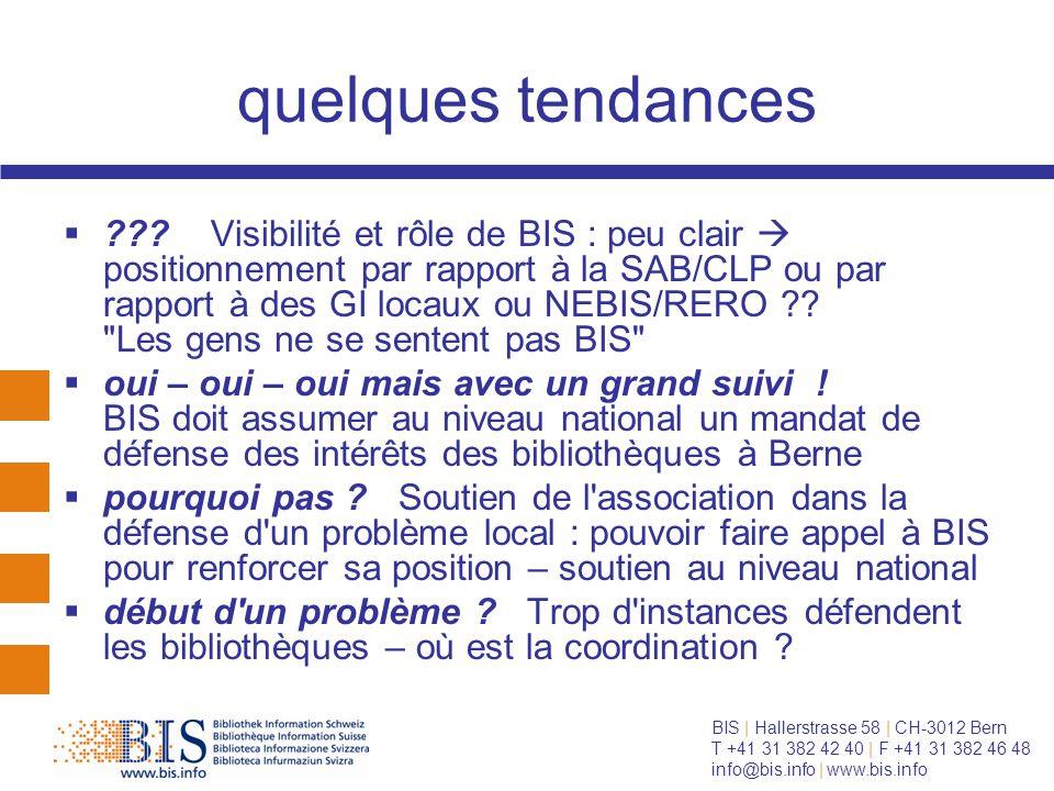BIS | Hallerstrasse 58 | CH-3012 Bern T +41 31 382 42 40 | F +41 31 382 46 48 info@bis.info | www.bis.info quelques tendances  .