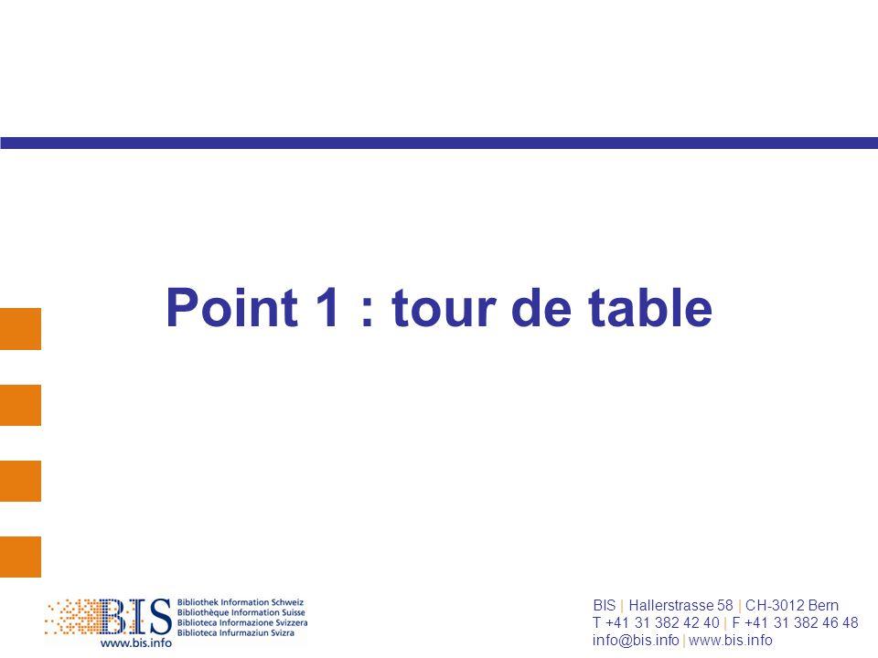 BIS   Hallerstrasse 58   CH-3012 Bern T +41 31 382 42 40   F +41 31 382 46 48 info@bis.info   www.bis.info chacun se présente : lieu de travail et fonction représentant du groupe BIS
