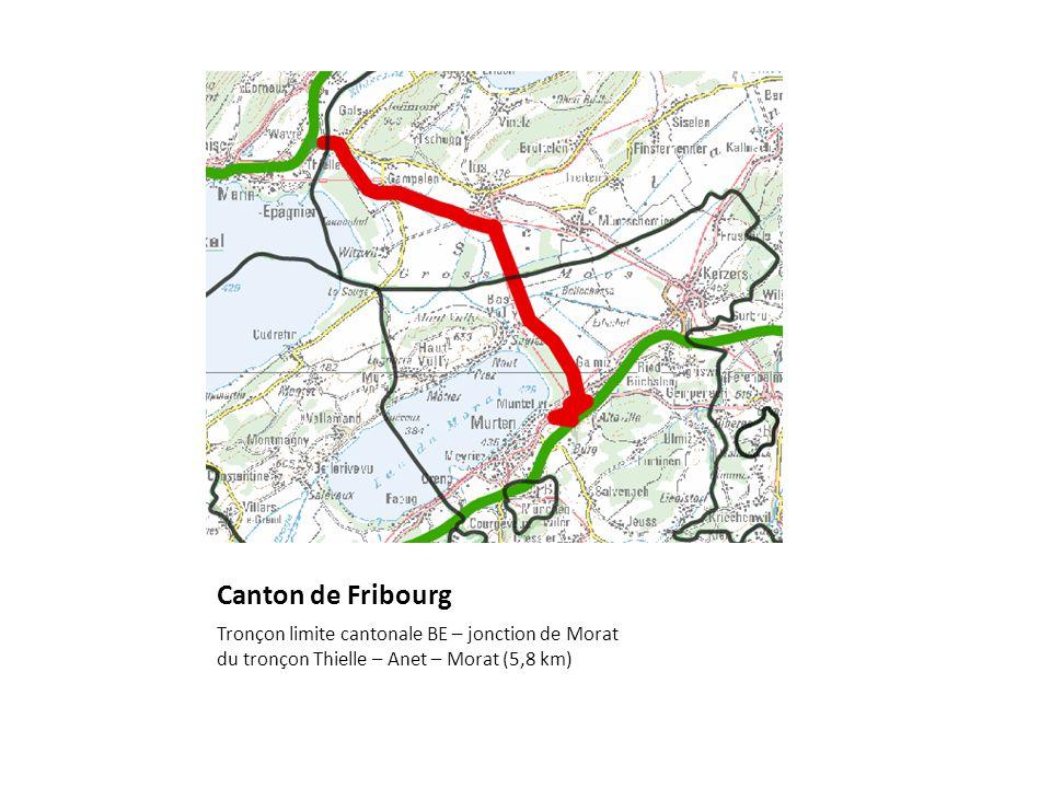 Canton de Fribourg Tronçon limite cantonale BE – jonction de Morat du tronçon Thielle – Anet – Morat (5,8 km)