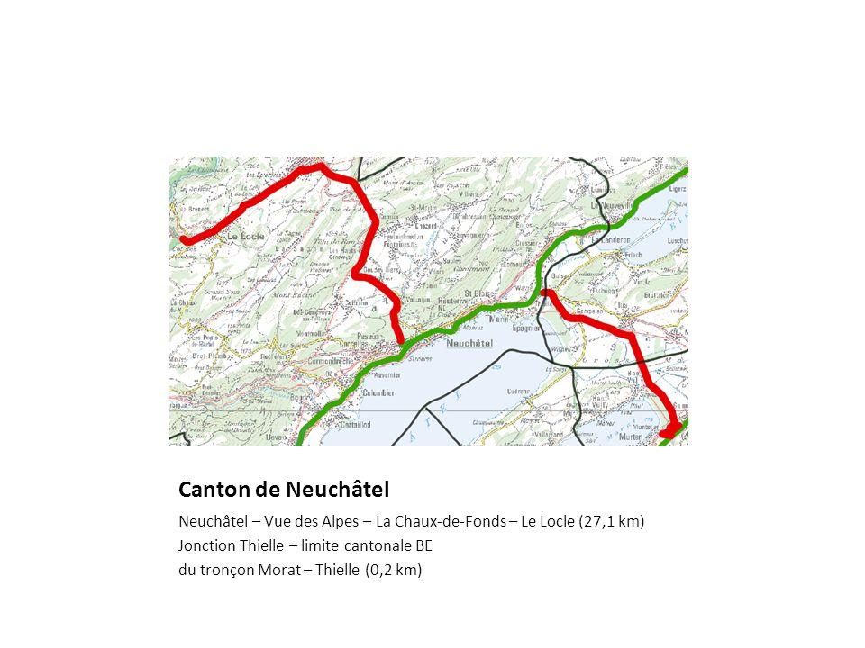 Canton de Neuchâtel Neuchâtel – Vue des Alpes – La Chaux-de-Fonds – Le Locle (27,1 km) Jonction Thielle – limite cantonale BE du tronçon Morat – Thielle (0,2 km)