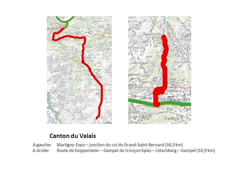 Canton du Valais A gauche: Martigny-Expo – jonction du col du Grand-Saint-Bernard (36,5 km) A droite:Route de Goppenstein – Gampel du tronçon Spiez – Lötschberg – Gampel (10,9 km)