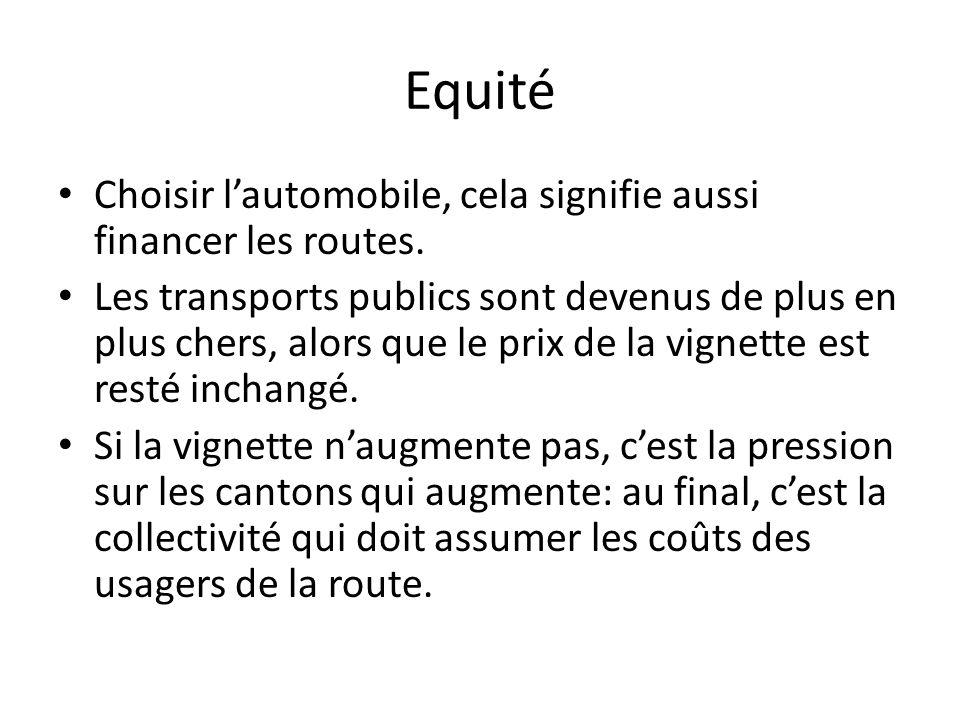 Equité Choisir l'automobile, cela signifie aussi financer les routes.