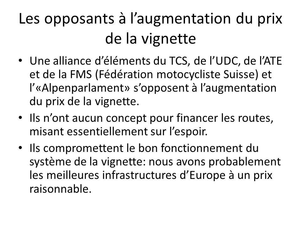 Les opposants à l'augmentation du prix de la vignette Une alliance d'éléments du TCS, de l'UDC, de l'ATE et de la FMS (Fédération motocycliste Suisse) et l'«Alpenparlament» s'opposent à l'augmentation du prix de la vignette.