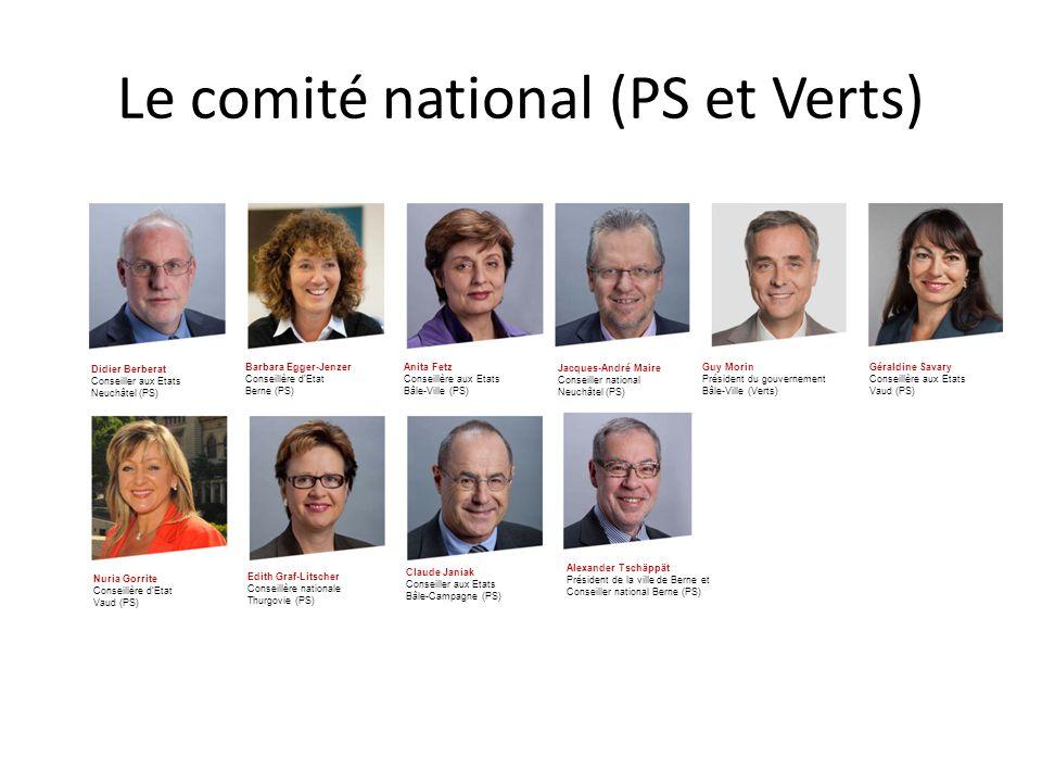 Le comité national (PS et Verts) Didier Berberat Conseiller aux Etats Neuchâtel (PS) Barbara Egger-Jenzer Conseillère d'Etat Berne (PS) Anita Fetz Con