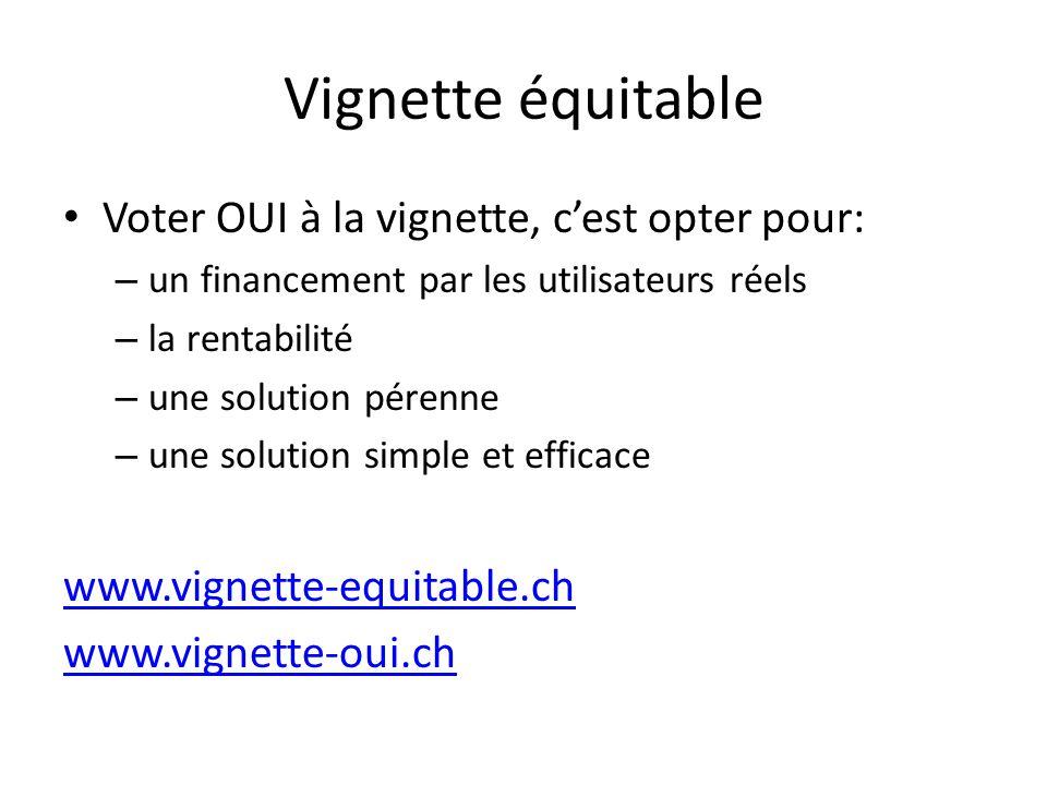 Vignette équitable Voter OUI à la vignette, c'est opter pour: – un financement par les utilisateurs réels – la rentabilité – une solution pérenne – une solution simple et efficace www.vignette-equitable.ch www.vignette-oui.ch