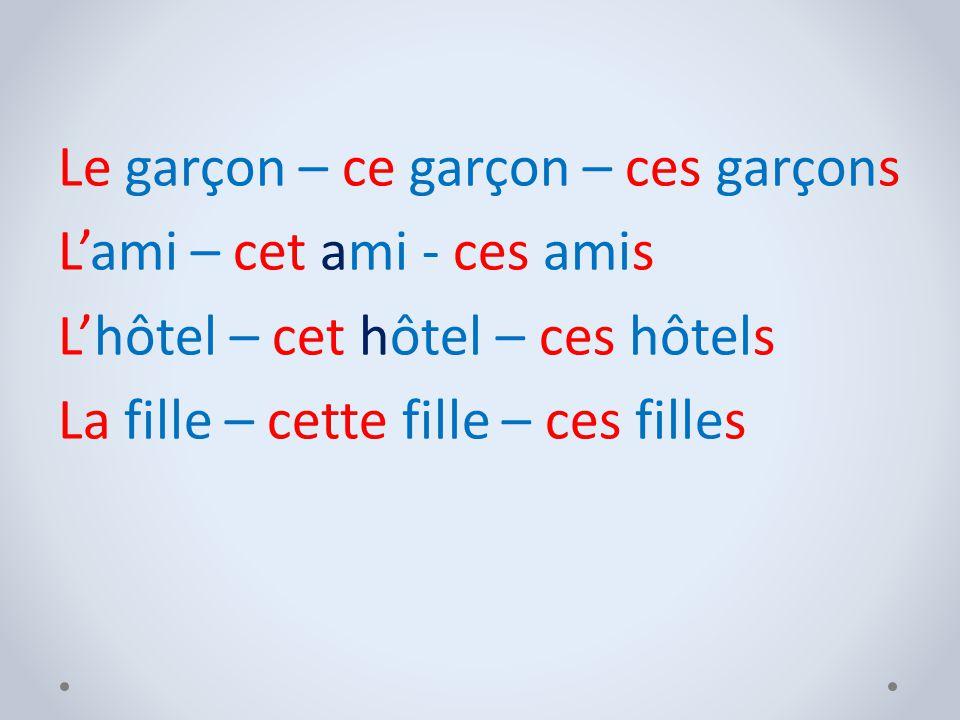 Замени выделенные артикли на указательные прилагательные и впиши их.Выбери: сe, cet, cette, ces.