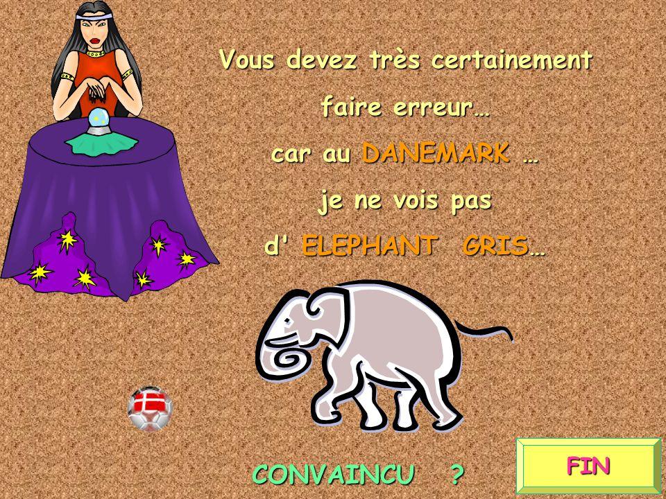 FIN Vous devez très certainement faire erreur… car au DANEMARK … je ne vois pas d ELEPHANT GRIS… CONVAINCU ?
