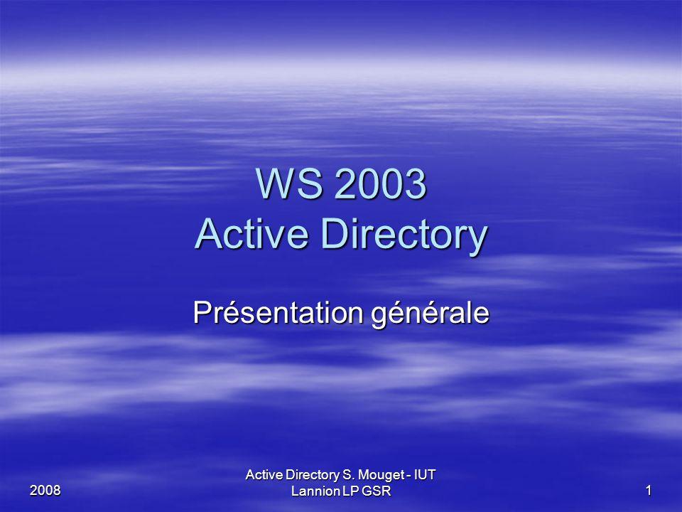 2008 Active Directory S. Mouget - IUT Lannion LP GSR 1 WS 2003 Active Directory Présentation générale