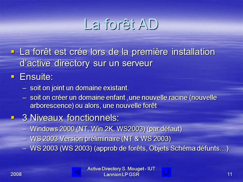 2008 Active Directory S. Mouget - IUT Lannion LP GSR11 La forêt AD  La forêt est crée lors de la première installation d'active directory sur un serv