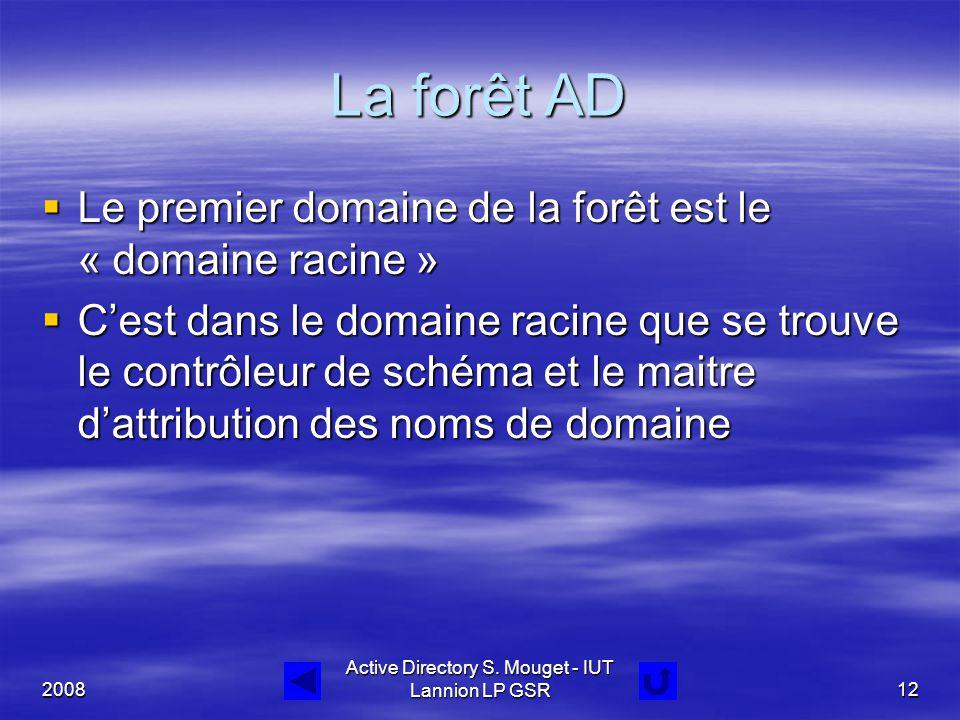 2008 Active Directory S. Mouget - IUT Lannion LP GSR12 La forêt AD  Le premier domaine de la forêt est le « domaine racine »  C'est dans le domaine