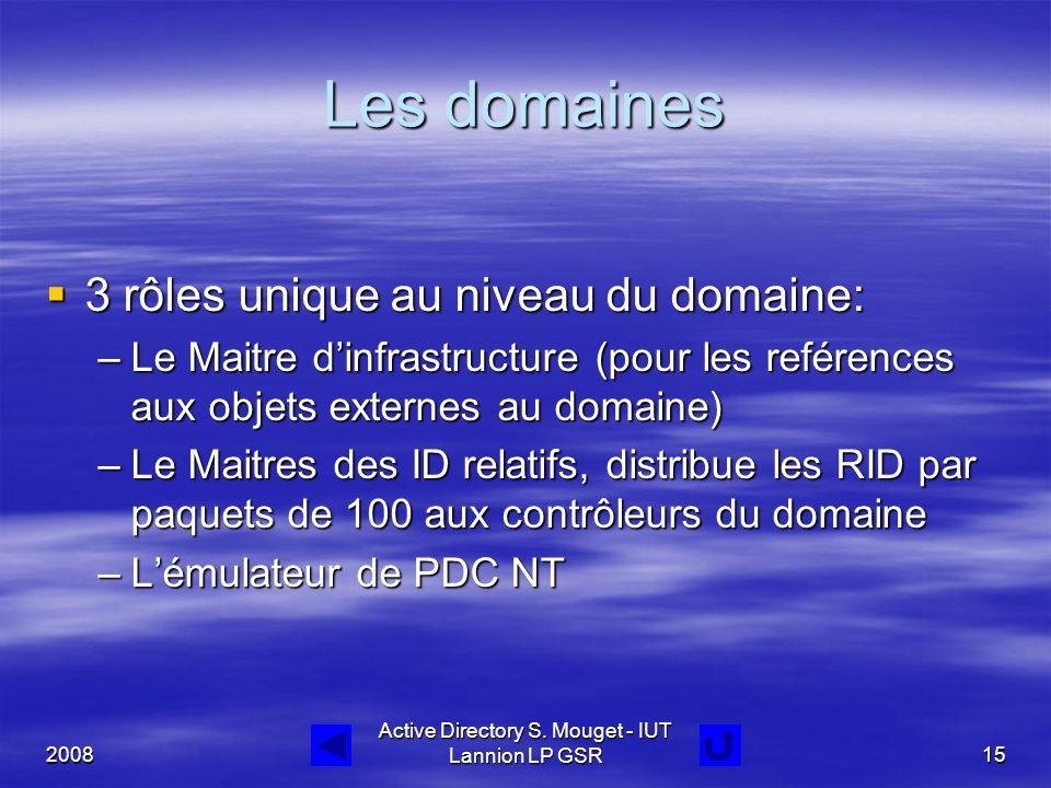 2008 Active Directory S. Mouget - IUT Lannion LP GSR15 Les domaines  3 rôles unique au niveau du domaine: –Le Maitre d'infrastructure (pour les refér
