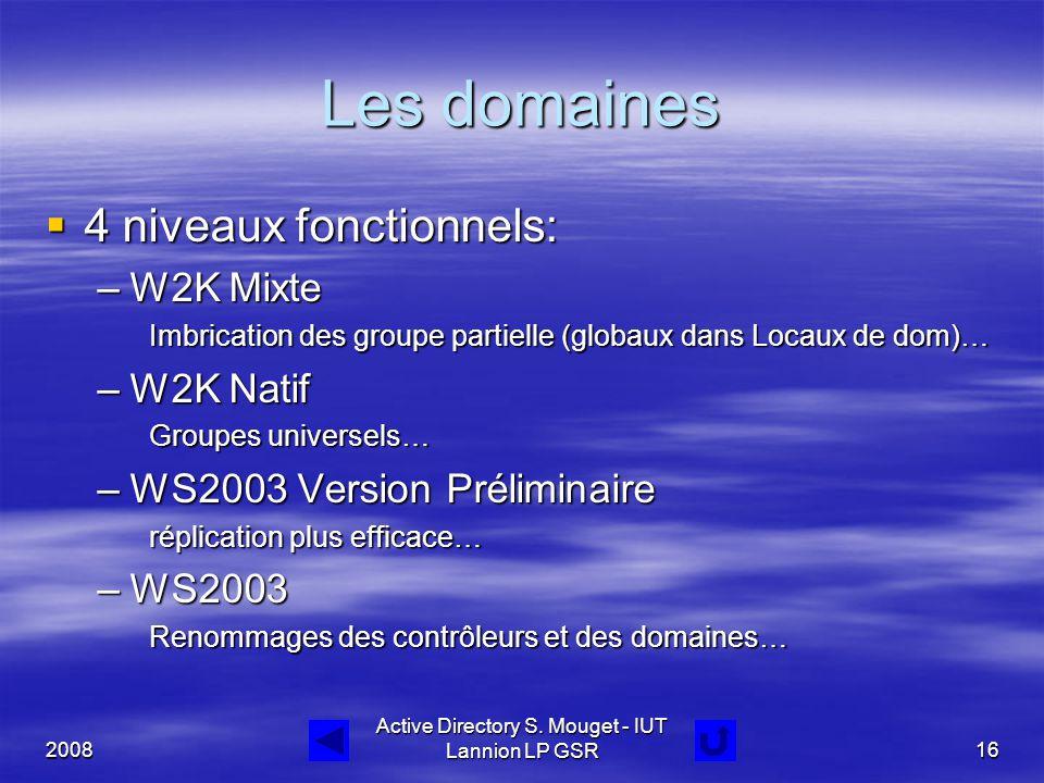 2008 Active Directory S. Mouget - IUT Lannion LP GSR16 Les domaines  4 niveaux fonctionnels: –W2K Mixte Imbrication des groupe partielle (globaux dan