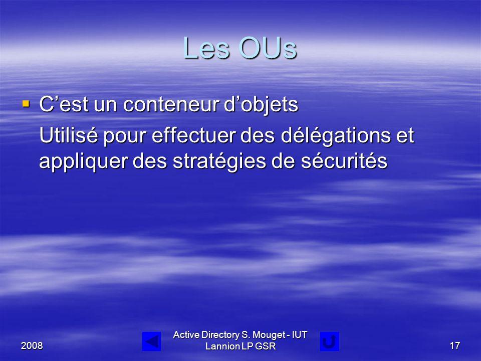 2008 Active Directory S. Mouget - IUT Lannion LP GSR17 Les OUs  C'est un conteneur d'objets Utilisé pour effectuer des délégations et appliquer des s