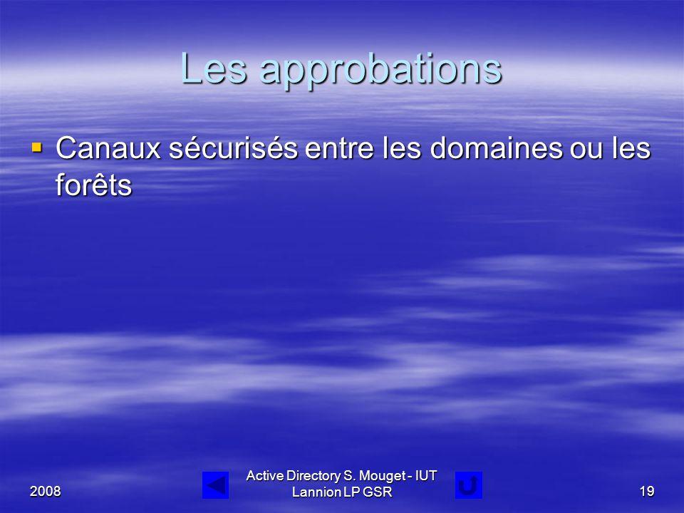 2008 Active Directory S. Mouget - IUT Lannion LP GSR19 Les approbations  Canaux sécurisés entre les domaines ou les forêts