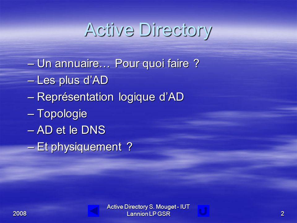 2008 Active Directory S. Mouget - IUT Lannion LP GSR2 Active Directory –Un annuaire… Pour quoi faire ? –Les plus d'AD –Représentation logique d'AD –To