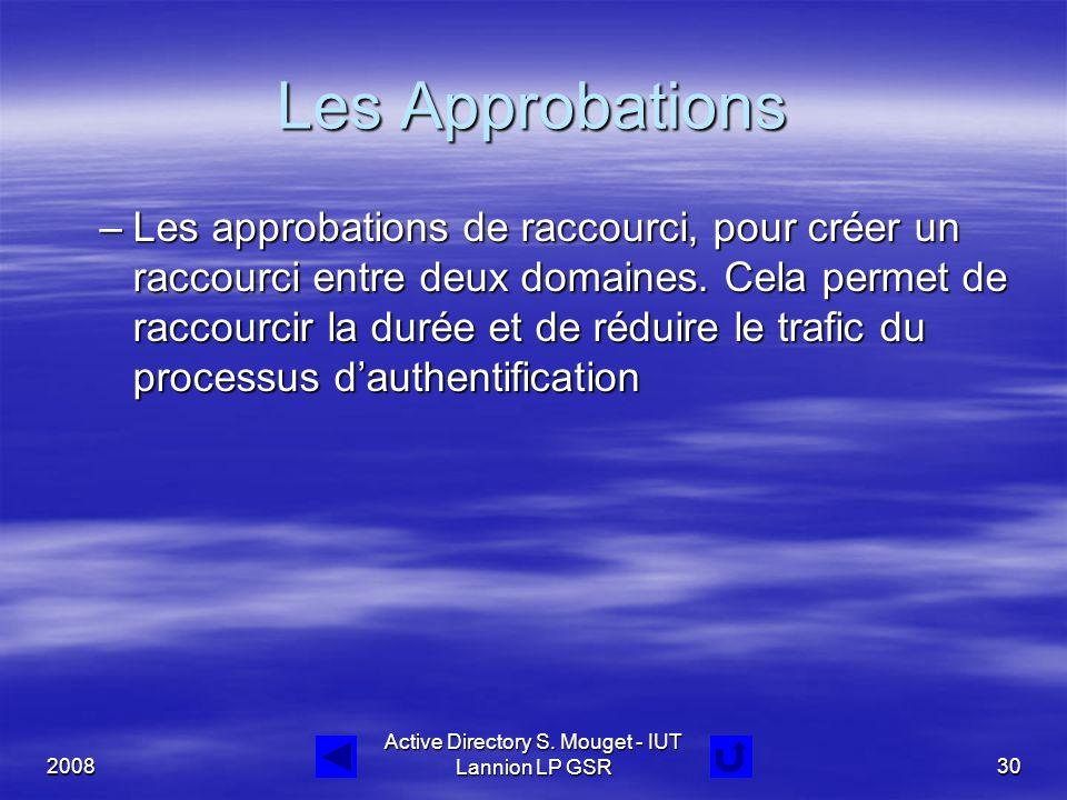 2008 Active Directory S. Mouget - IUT Lannion LP GSR30 Les Approbations –Les approbations de raccourci, pour créer un raccourci entre deux domaines. C