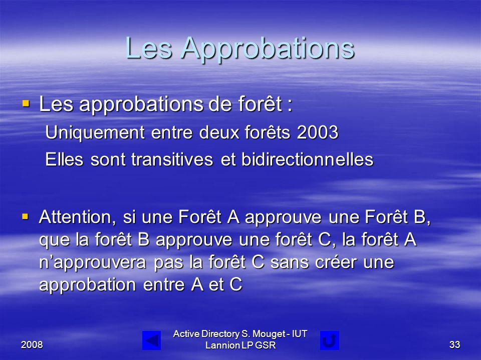 2008 Active Directory S. Mouget - IUT Lannion LP GSR33 Les Approbations  Les approbations de forêt : Uniquement entre deux forêts 2003 Elles sont tra