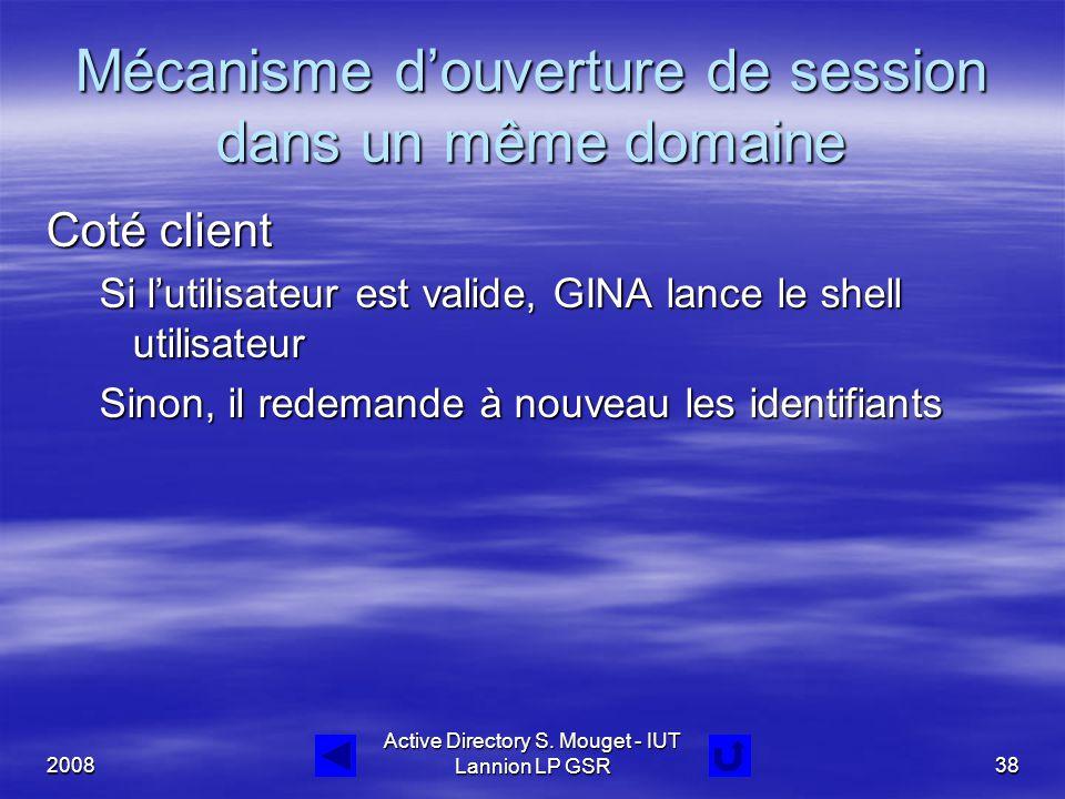 2008 Active Directory S. Mouget - IUT Lannion LP GSR38 Mécanisme d'ouverture de session dans un même domaine Coté client Si l'utilisateur est valide,