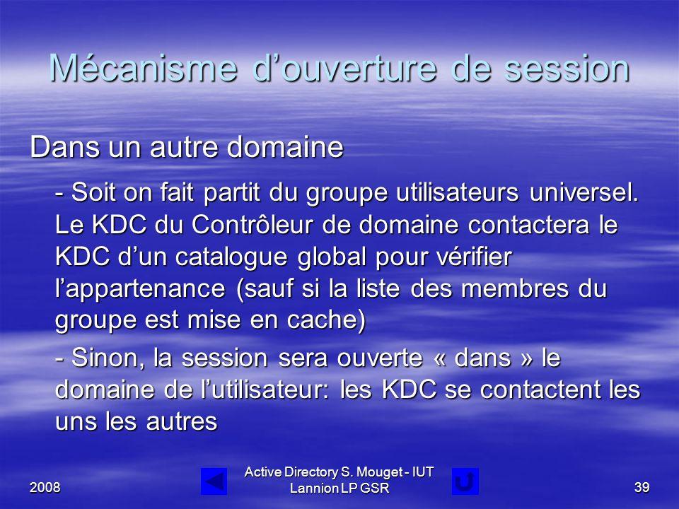 2008 Active Directory S. Mouget - IUT Lannion LP GSR39 Mécanisme d'ouverture de session Dans un autre domaine - Soit on fait partit du groupe utilisat