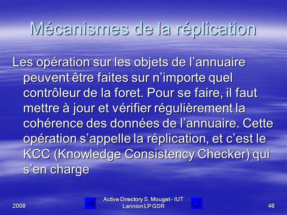 2008 Active Directory S. Mouget - IUT Lannion LP GSR46 Mécanismes de la réplication Les opération sur les objets de l'annuaire peuvent être faites sur