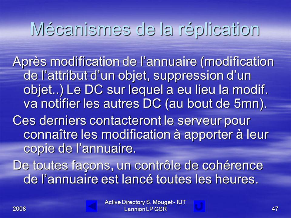 2008 Active Directory S. Mouget - IUT Lannion LP GSR47 Mécanismes de la réplication Après modification de l'annuaire (modification de l'attribut d'un